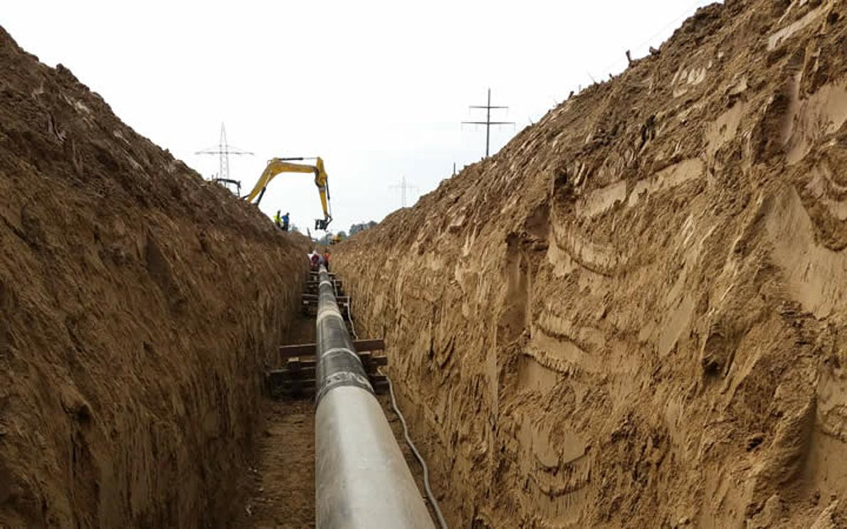 Excavation of the Isarschiene pipeline in 2015